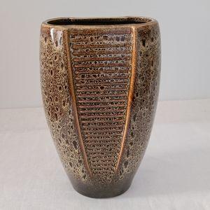 EUC West German Style MCM Tall Brown Ceramic Vase
